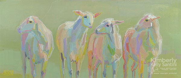 """Untitled Sheeps"" original fine art by Kimberly Santini"