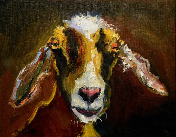 """ARTOUTWEST DIANE WHITEHEAD Goat Animal art oil painting"" original fine art by Diane Whitehead"