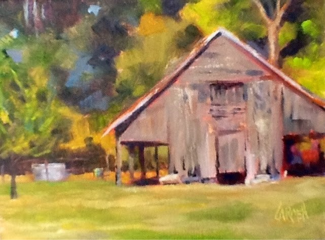 """The Old Barn, 6x8 Oil on Canvas"" original fine art by Carmen Beecher"