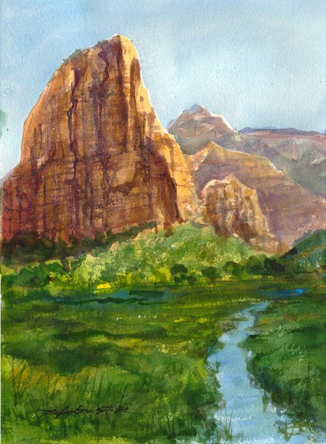 """Angel's Landing Morning"" original fine art by Rafael DeSoto Jr."