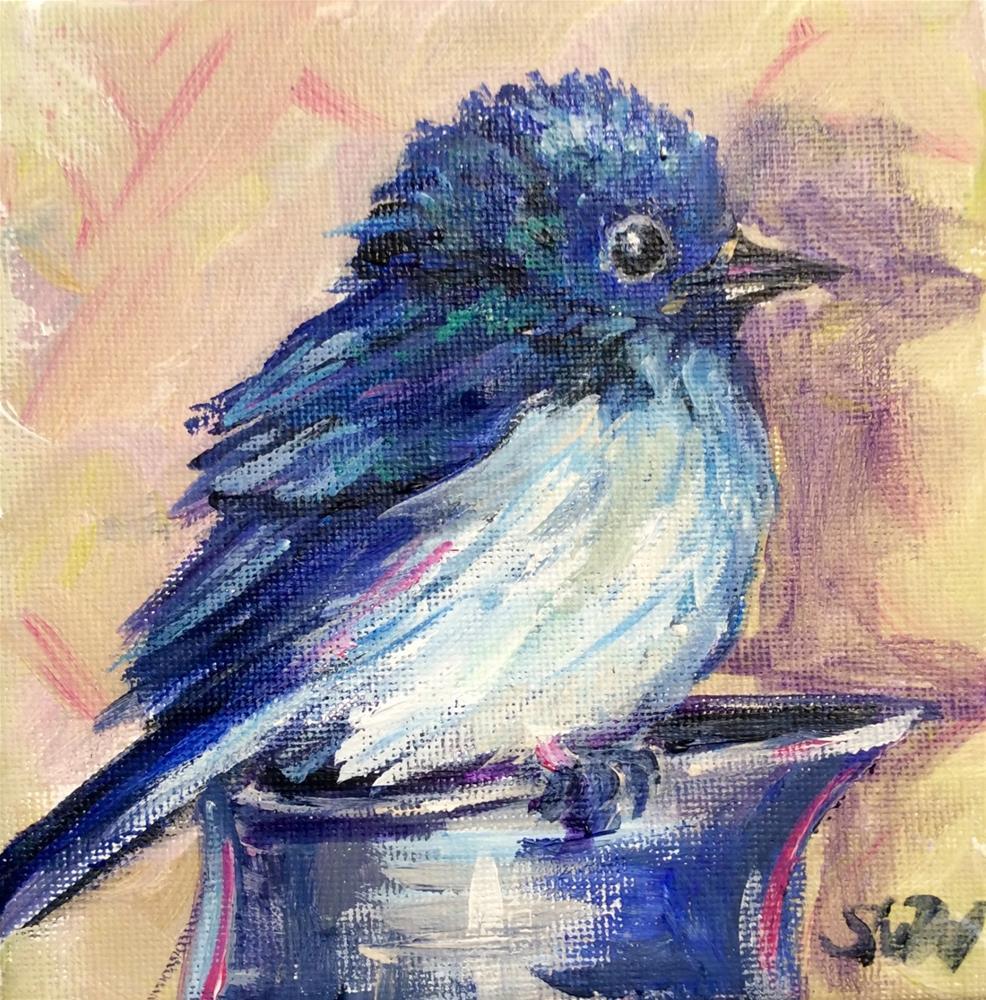 """""""Bluebird on blue jug"""" original fine art by Sonia von Walter"""