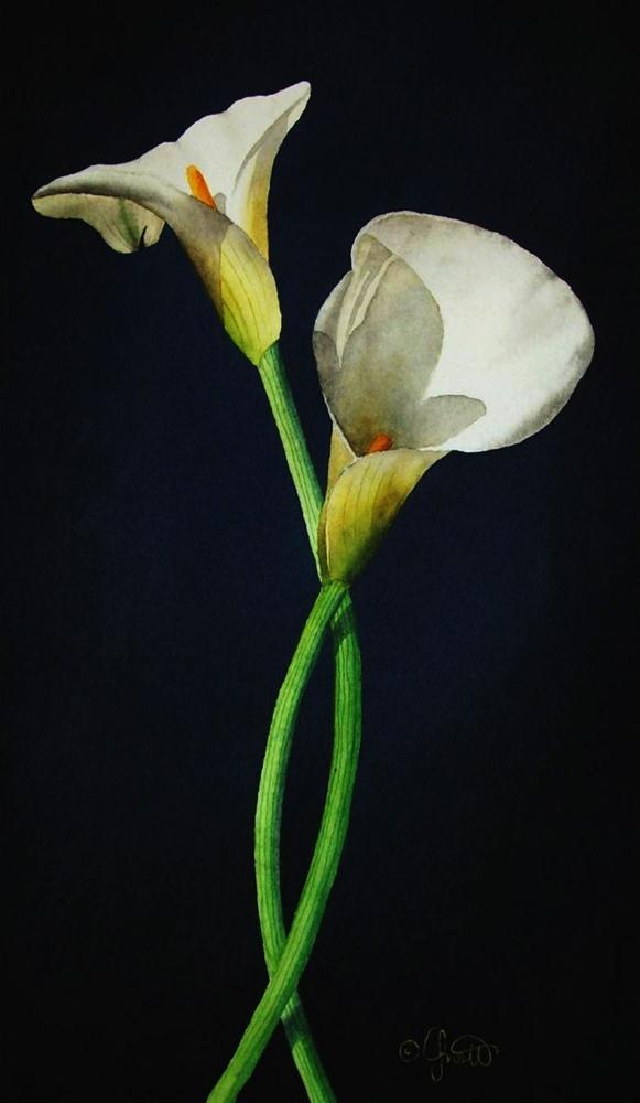 """Easter Calla Lilies"" original fine art by Jacqueline Gnott, whs"