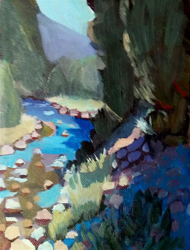 """Shadow on the Riverbed"" original fine art by Liz Maynes"