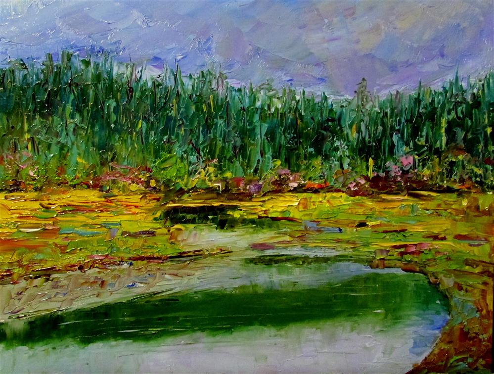 """8 x 10 inch oil Creekside #6"" original fine art by Linda Yurgensen"