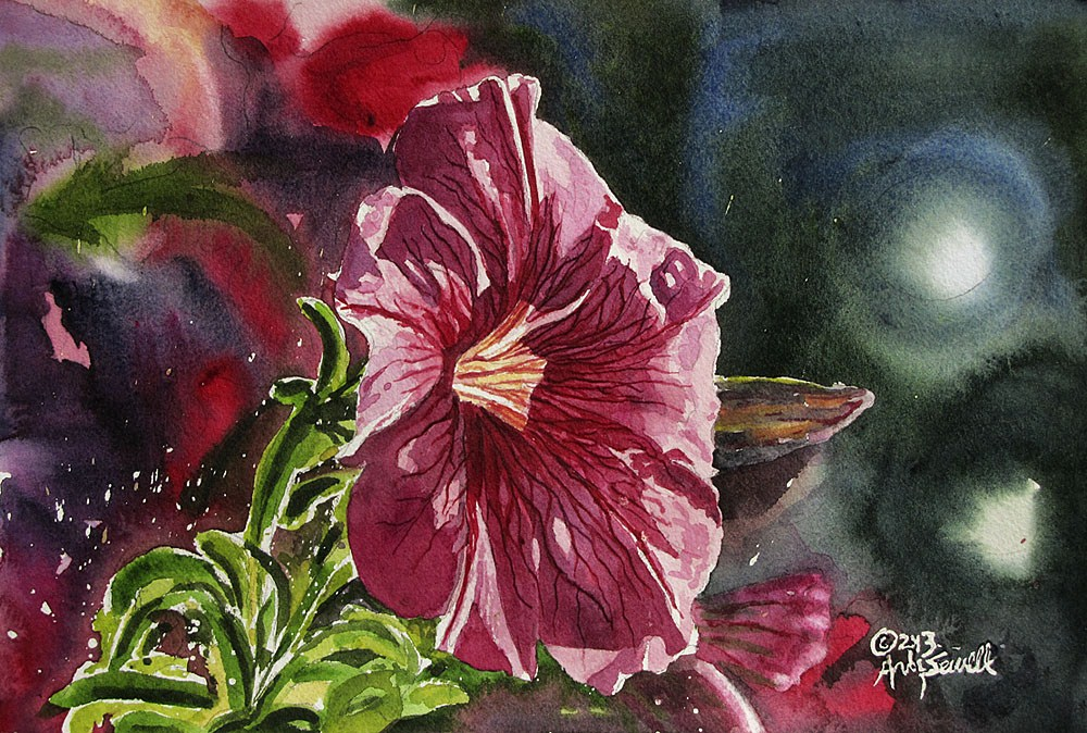 """Red Petunia"" original fine art by Andy Sewell"