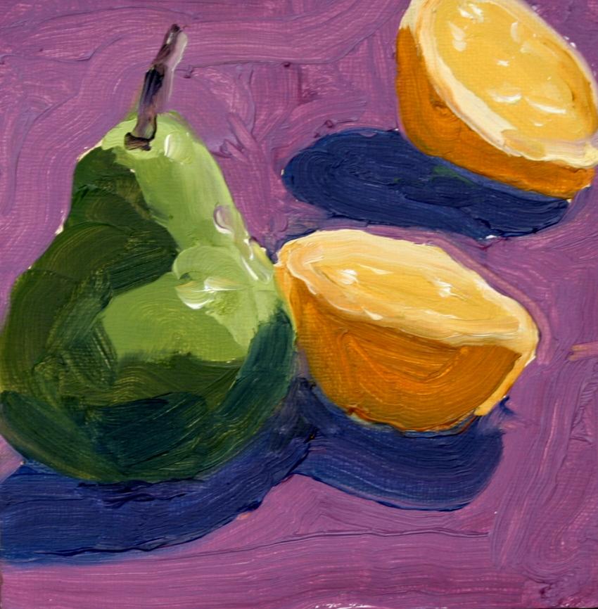 """Pear and Lemon"" original fine art by Kristen Dukat"
