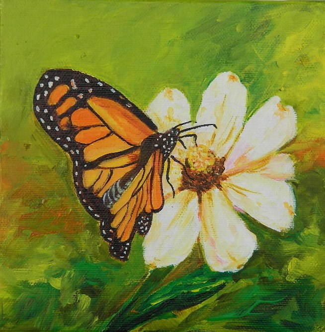 """Butterfly & dasiy"" original fine art by Gloria Urban"