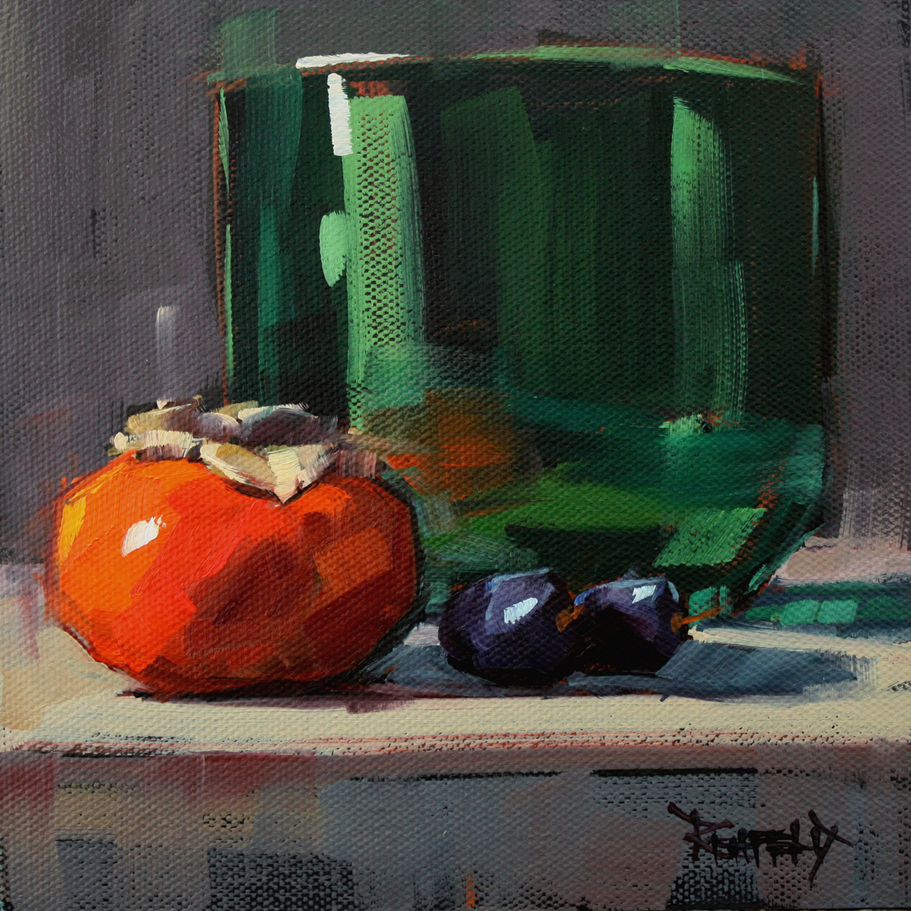 """The Green Bowl"" original fine art by Cathleen Rehfeld"