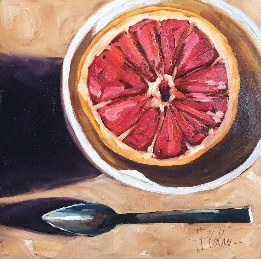 """Grapefruit & Spoon"" original fine art by Hallie Kohn"