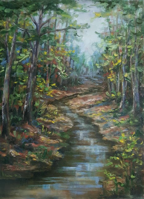 """Creekside Sycamores in Fall"" original fine art by Tammie Dickerson"