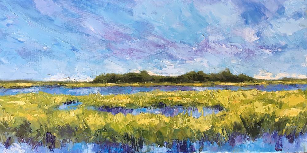 """Marsh Grasses Blues and Bright Greens"" original fine art by Allison Doke"