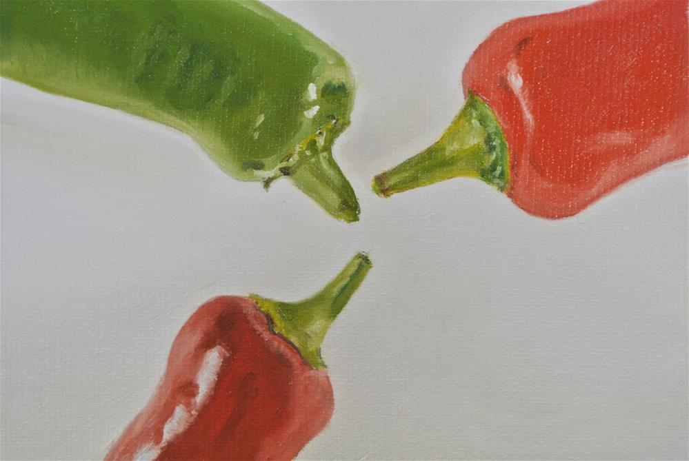 """Three Chillies Chatting"" original fine art by James Coates"