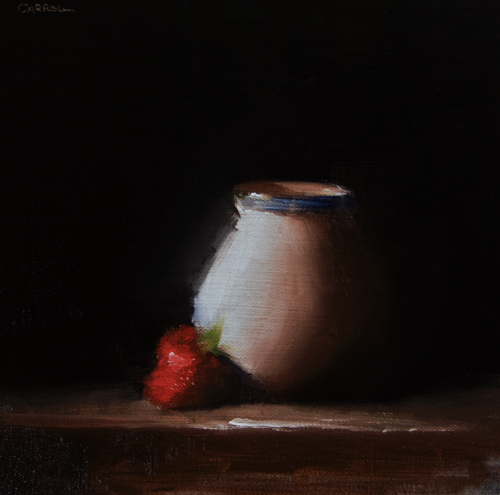 """Small Vase with Strawberry"" original fine art by Neil Carroll"