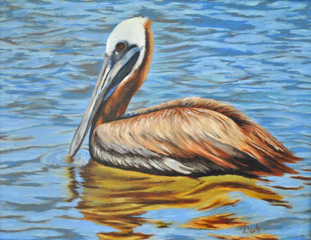 """Pelican Reflections"" original fine art by Darla Brock"