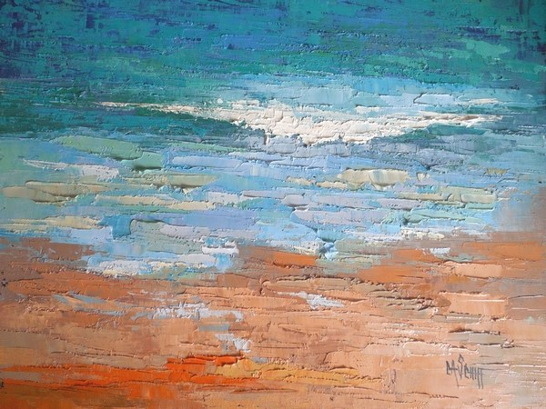 """Daily Painting, Seascape Painting, Ocean Painting, Beach Painting,  Celebrating Blue 16x20x1.5 Oi"" original fine art by Carol Schiff"
