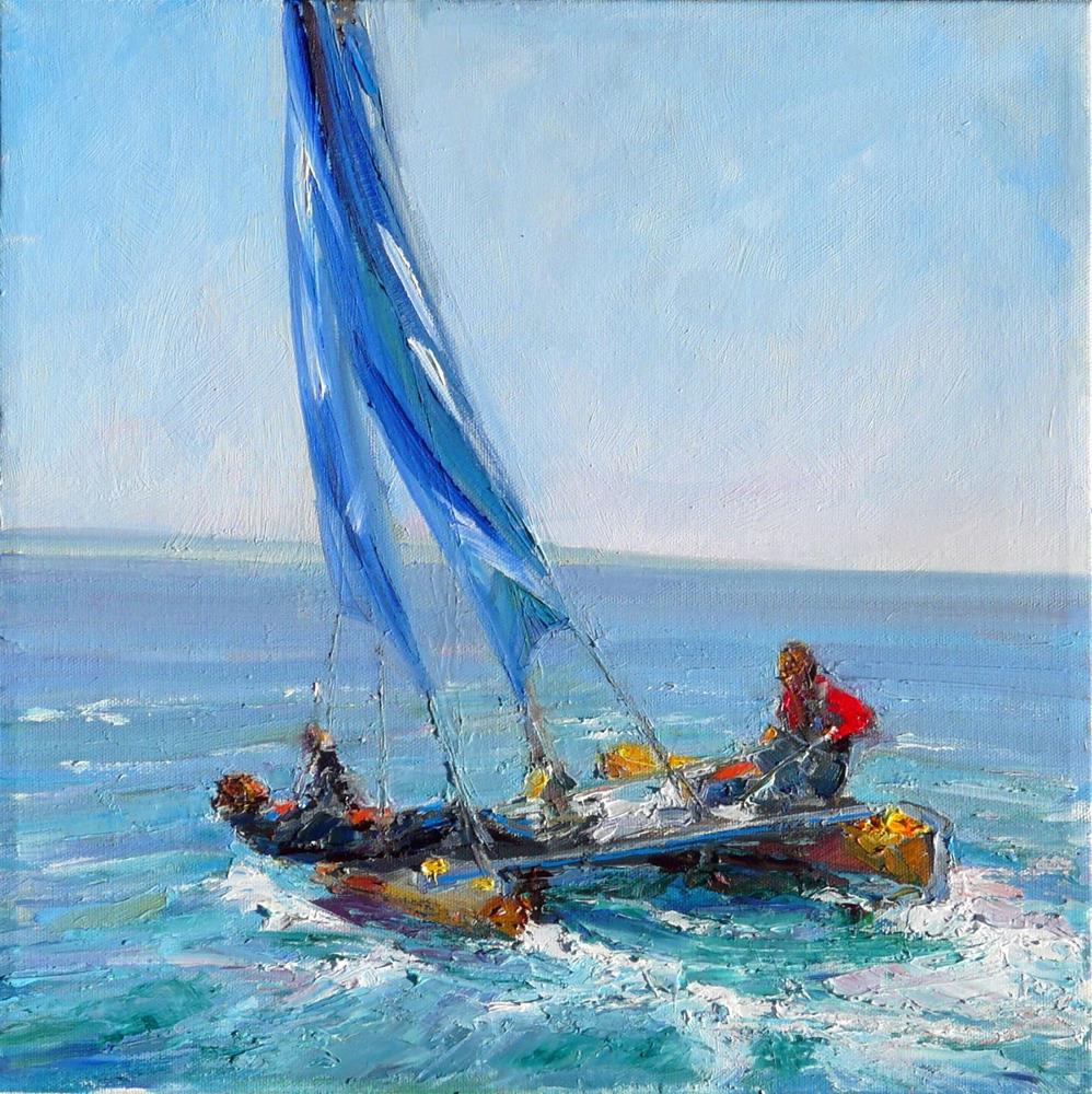 """Fast Boat Race,figures,oil on canvas,14x14,price$500"" original fine art by Joy Olney"