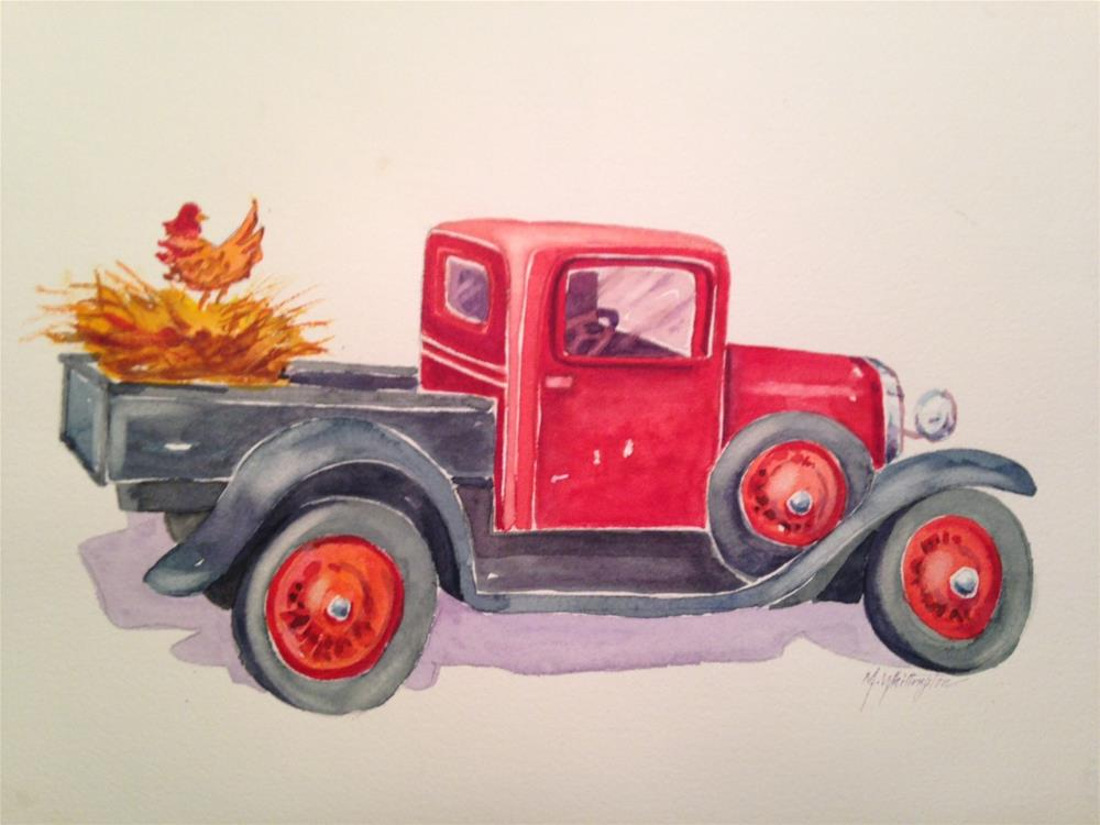 """A Red Pickup"" original fine art by Margie Whittington"