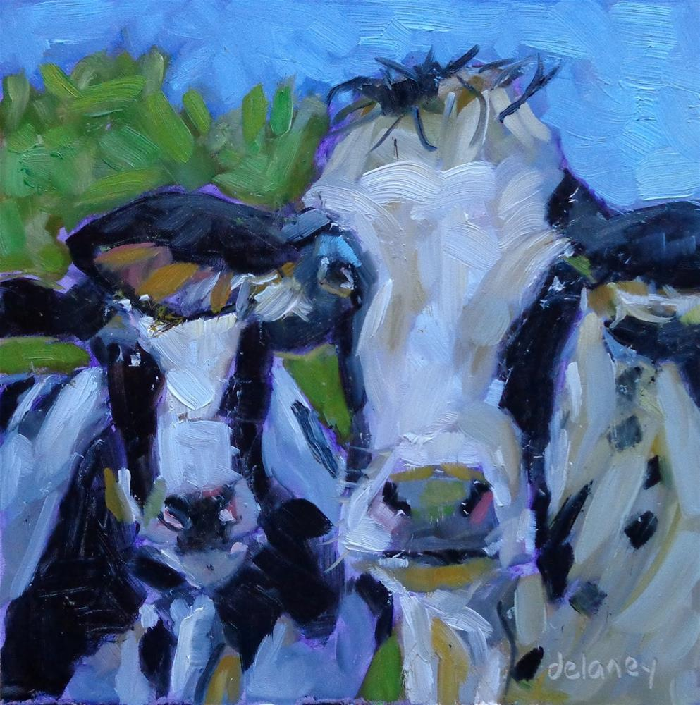 """Cow 94 THE FRONT MAN"" original fine art by Jean Delaney"