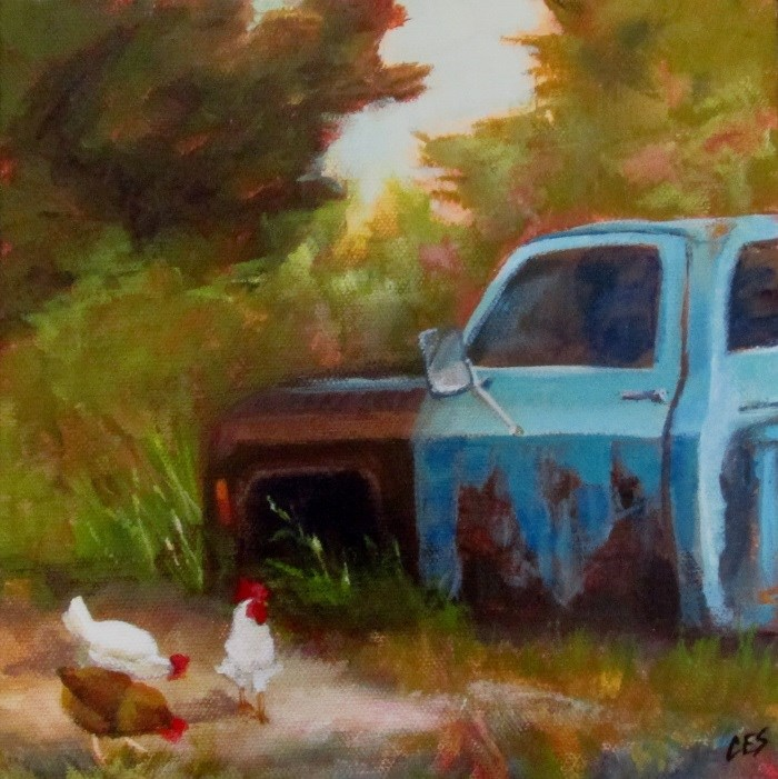 """Chickens Grazing by Old Blue"" original fine art by ~ces~ Christine E. S. Code"
