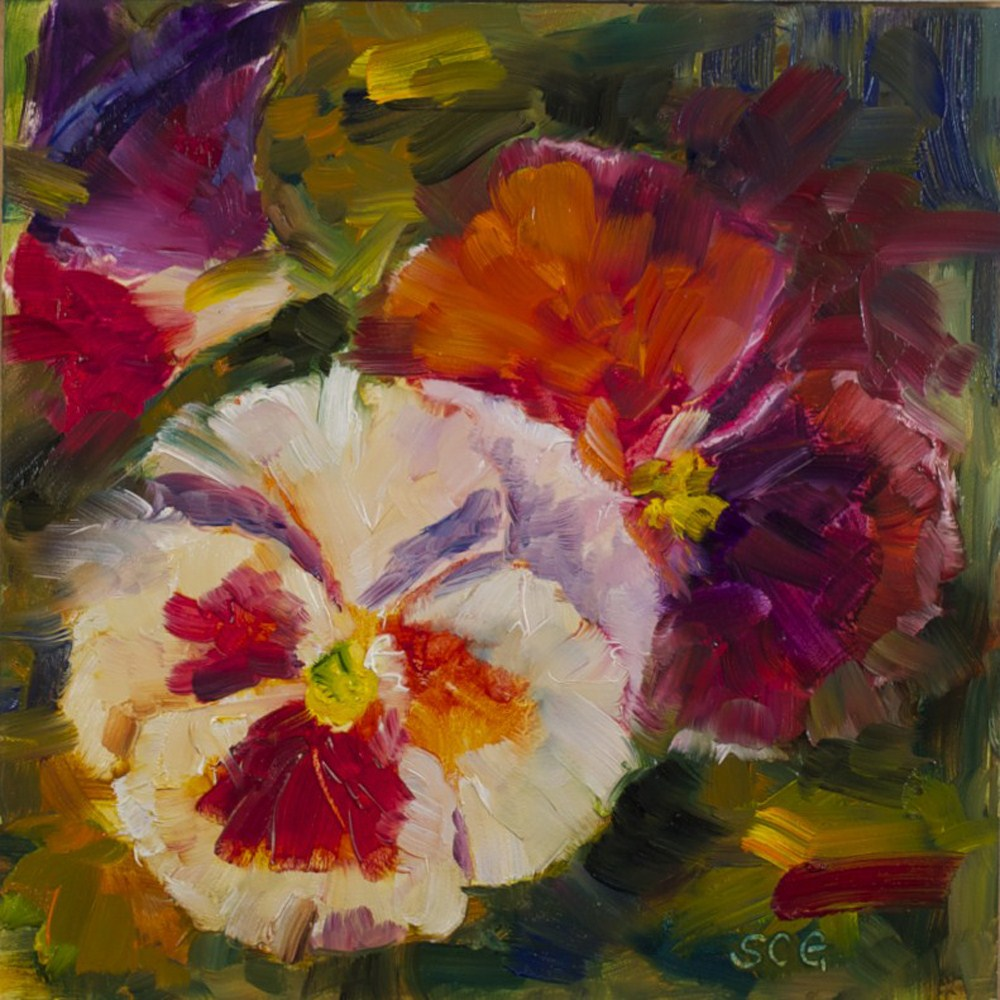 """Pansy Study #1"" original fine art by Sue Churchgrant"