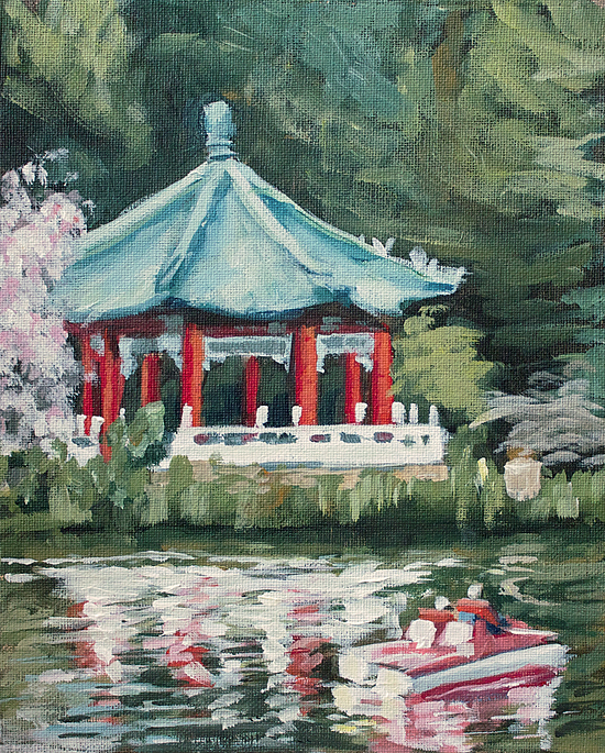 """Pagoda Reflections"" original fine art by J. Farnsworth"