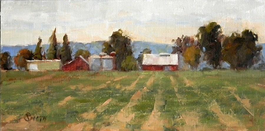 """""""Distant Farm"""" original fine art by Barbie Smith"""