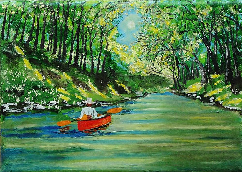 """Canoe Crusing"" original fine art by Mike Caitham"