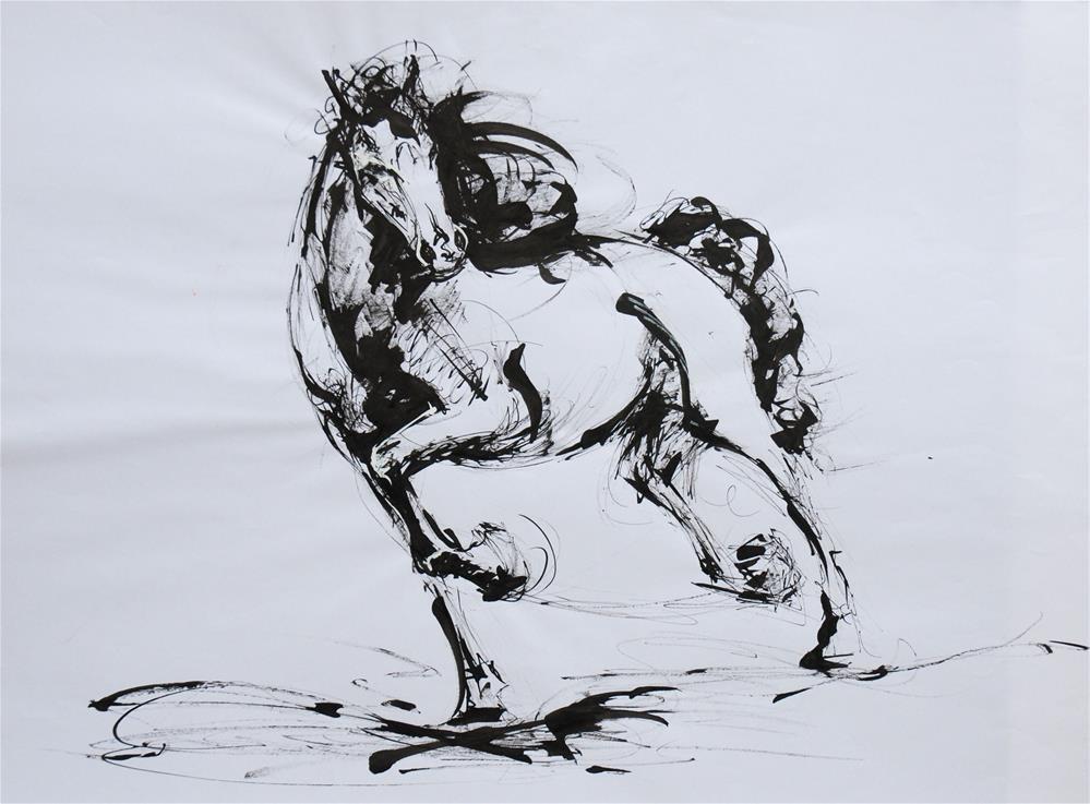 """A proud horse"" original fine art by Olga Touboltseva-Lefort"