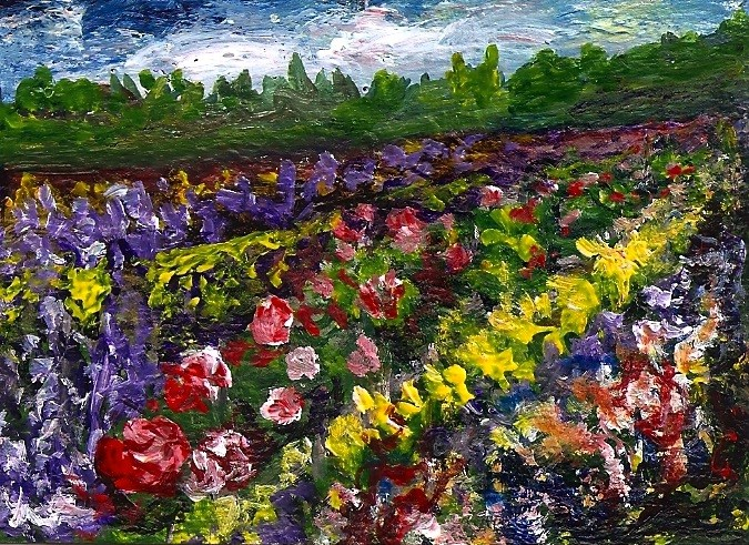"""ACEO Field of Flowers Gardens Floral Landscape miniature Painting Penny StewArt"" original fine art by Penny Lee StewArt"