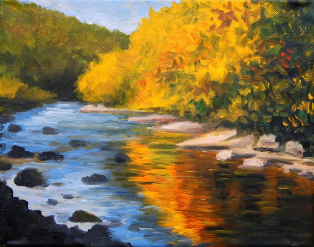 """Little Schuylkill in Autumn"" original fine art by Hilary J. England"