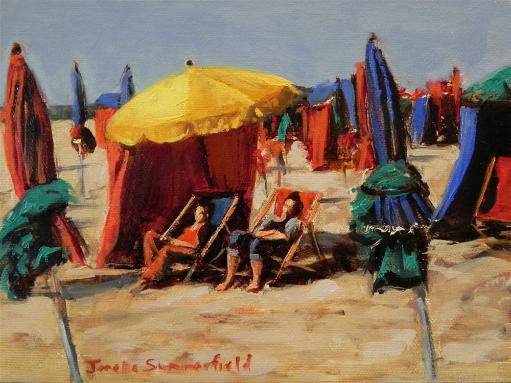"""Deauville Beach Umbrellas"" original fine art by Jonelle Summerfield"