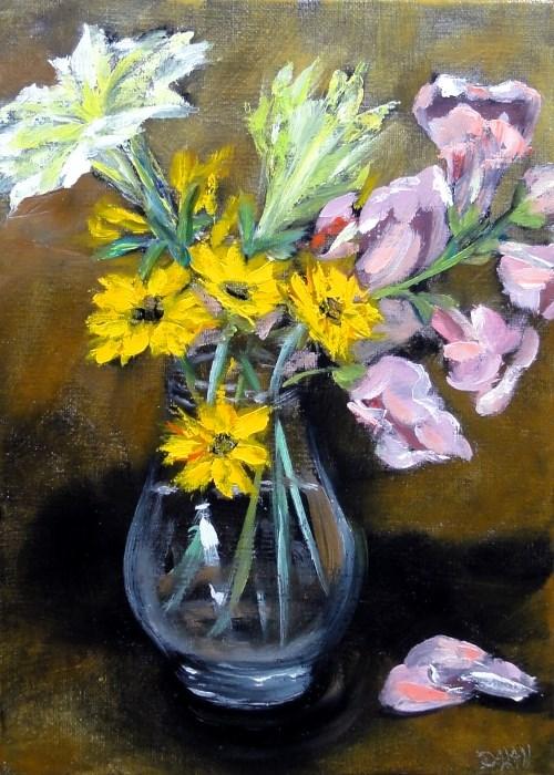 """Petunia Snapdragons Coreopsis"" original fine art by Dalan Wells"
