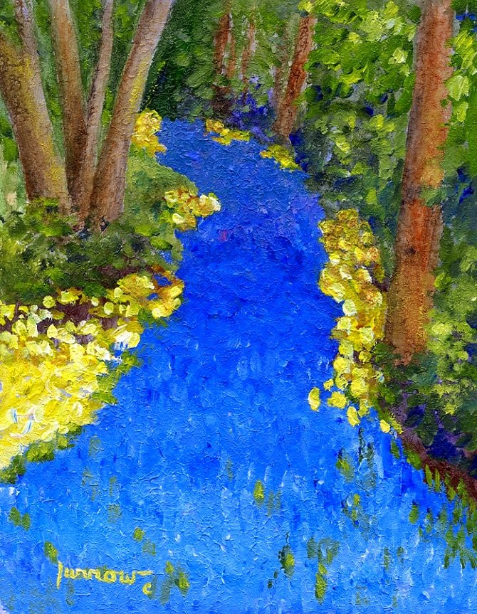 """ORIGINAL PAINTING OF A BLUE FLORAL RIVER"" original fine art by Sue Furrow"