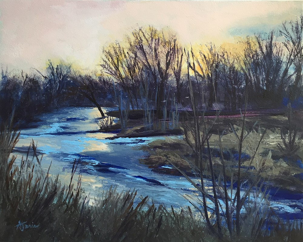 """River Twilight"" original fine art by Andrea Jeris"