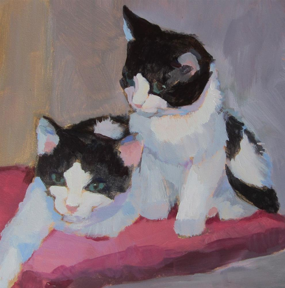 """Black and White Kittens"" original fine art by Kaethe Bealer"