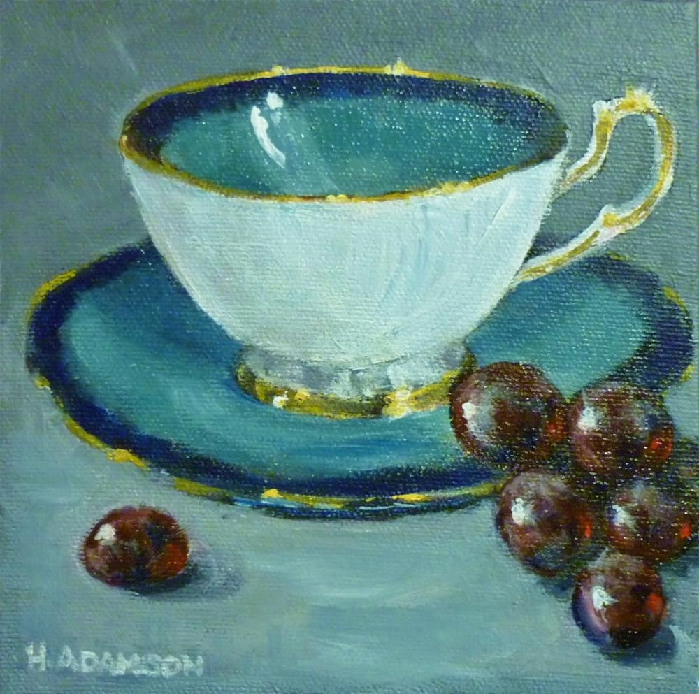 """Teacup and Grapes"" original fine art by Helene Adamson"