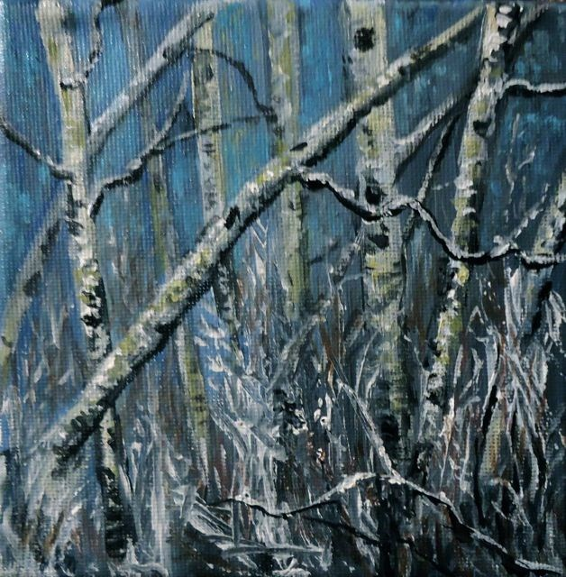"""Snowy Aspens"" original fine art by Jackie Irvine"