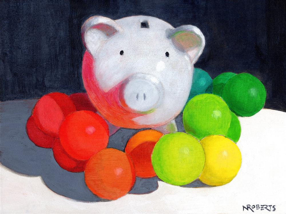 """Happy Pig"" original fine art by Nancy Roberts"