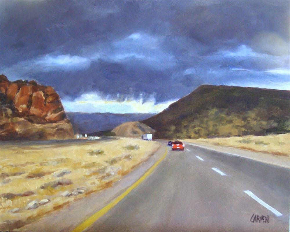 """Road to Sedona, 10x8 Original Oil Desert Landscape"" original fine art by Carmen Beecher"
