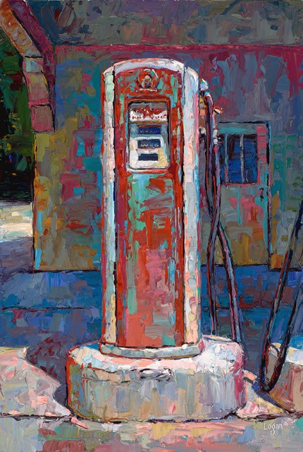 """Old Monrovia Gas Pump"" original fine art by Raymond Logan"