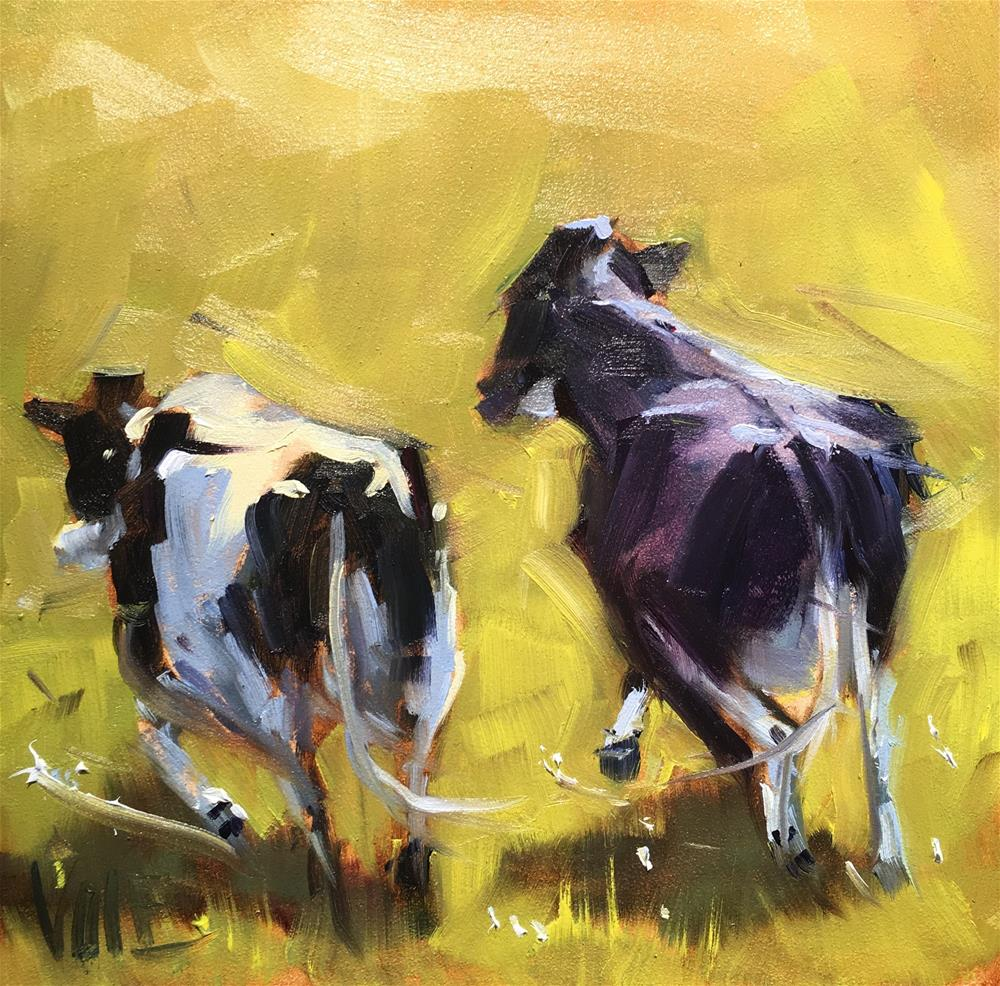 """#433 Runaway Cows"" original fine art by Patty Voje"