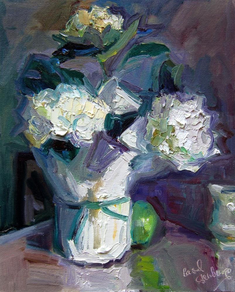 """""""White Hydrangea on Kitchen Counter"""" original fine art by Carol Steinberg"""