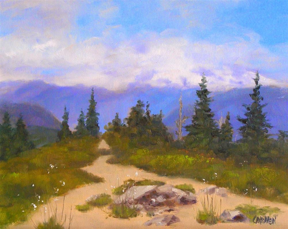 """Mountain Path, 10x8 Oil on Canvas Panel Landscape Daily Painting"" original fine art by Carmen Beecher"