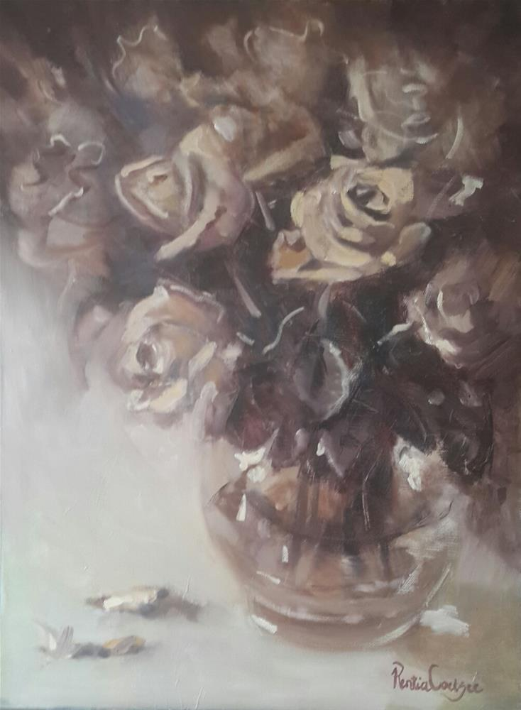 """Antique roses"" original fine art by Rentia Coetzee"