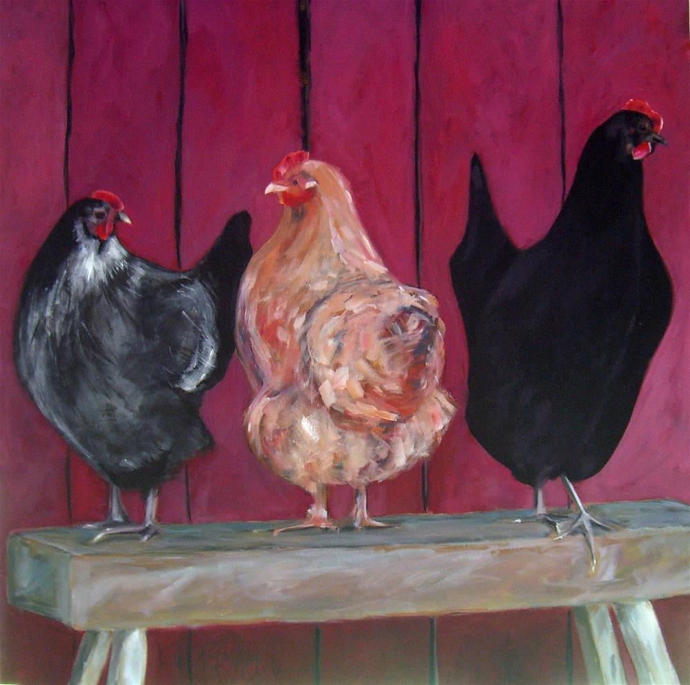 """""""Hens"""" original fine art by Kathy Broyles"""