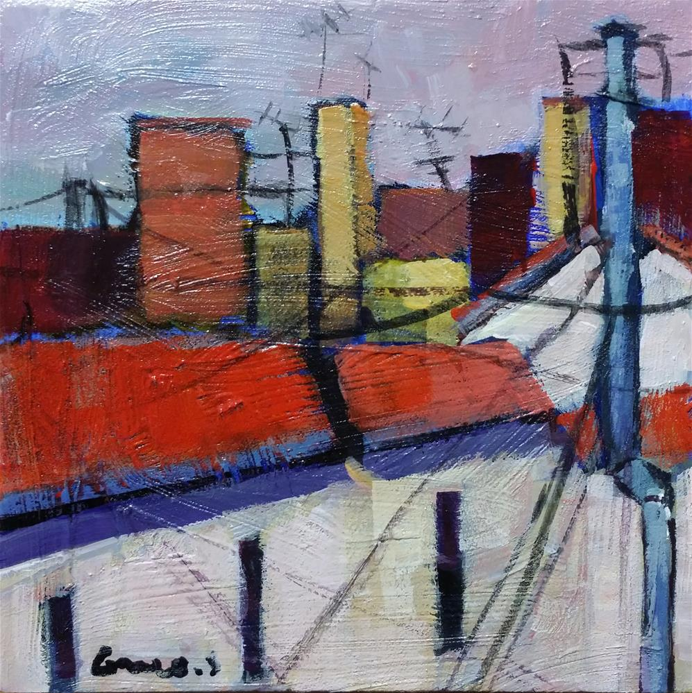 """roofs of Paris"" original fine art by salvatore greco"