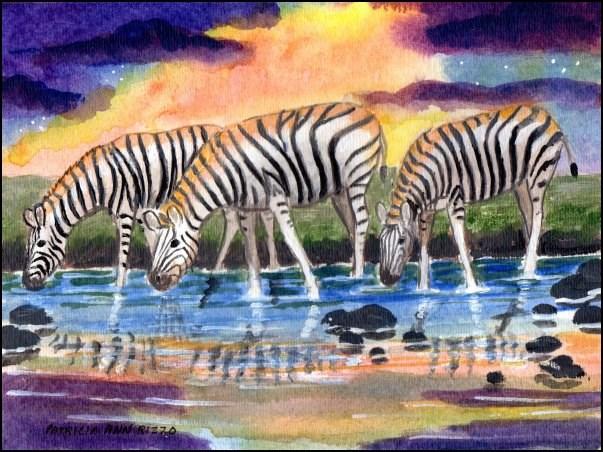 """Thirsty Zebras"" original fine art by Patricia Ann Rizzo"