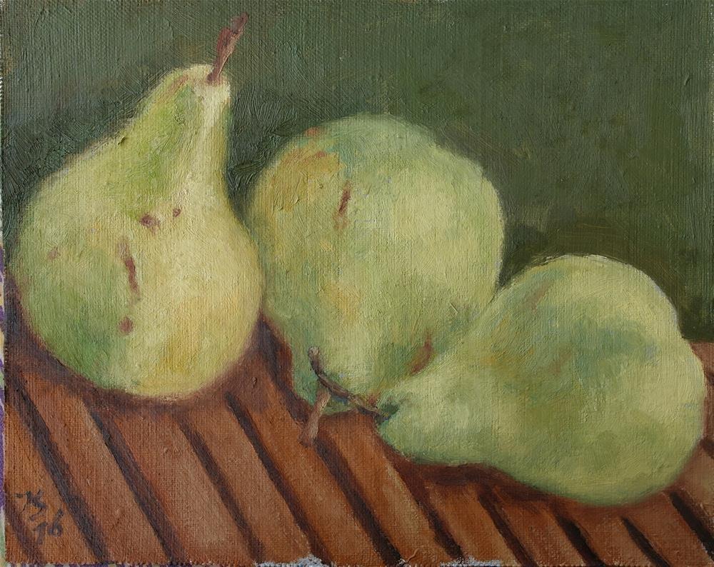 """""""3 pears 3"""" original fine art by Yuriy Semyonov"""