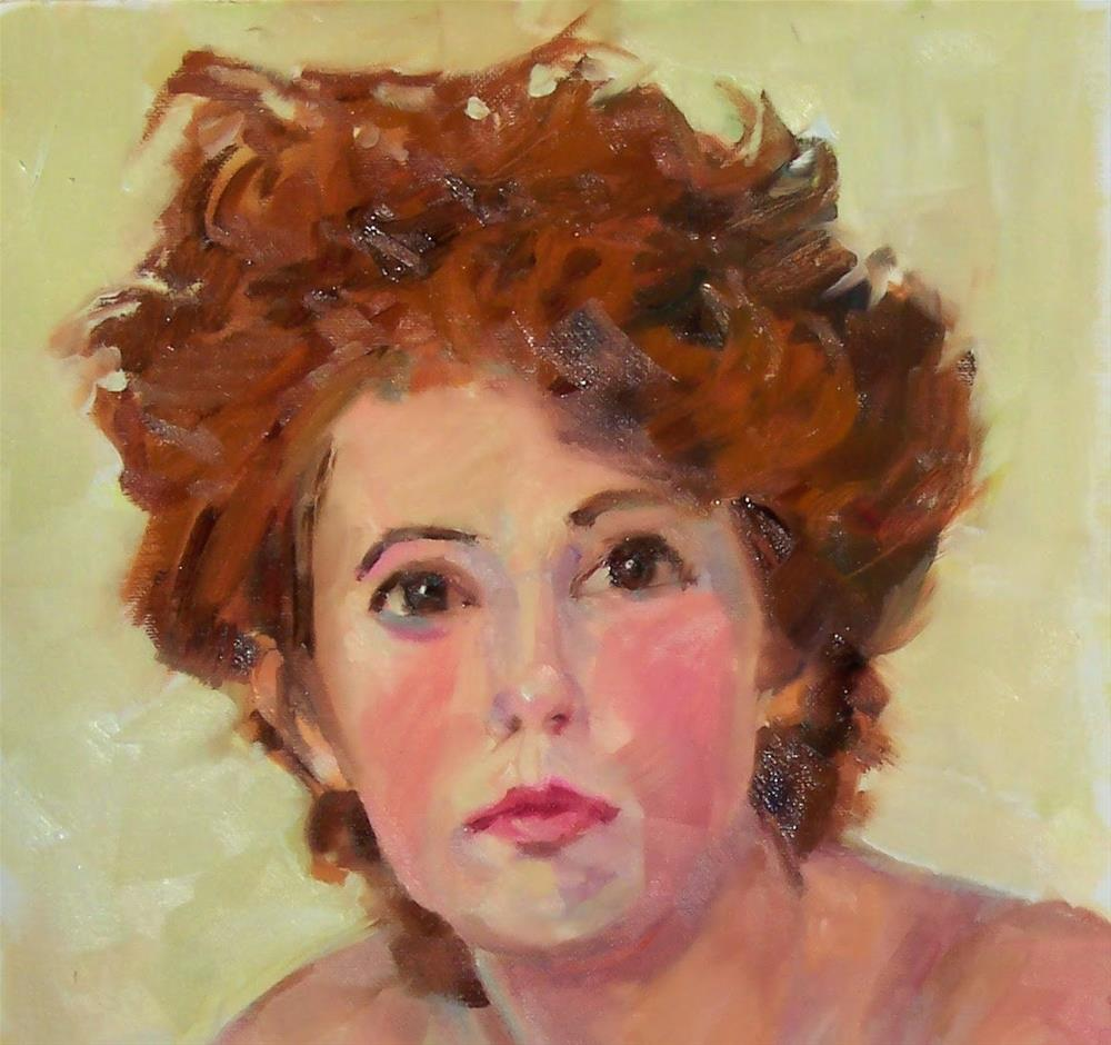 """Melanie,portrait,oil on canvas pad,16x12,priceNFS"" original fine art by Joy Olney"