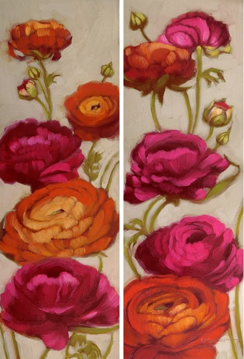 """Free Range Roses I & II large floral paintings"" original fine art by Diane Hoeptner"